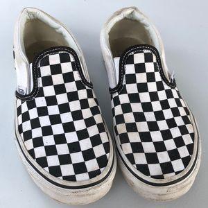 Girls black and white checkered Vans